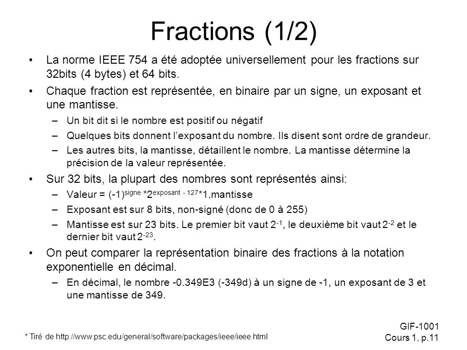 Fractions (1/2) La norme IEEE 754 a été adoptée universellement pour les fractions sur 32bits (4 bytes) et 64 bits.
