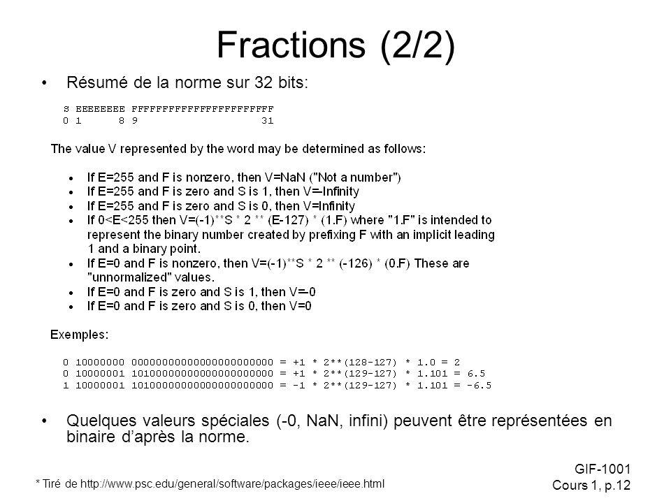 Fractions (2/2) Résumé de la norme sur 32 bits: