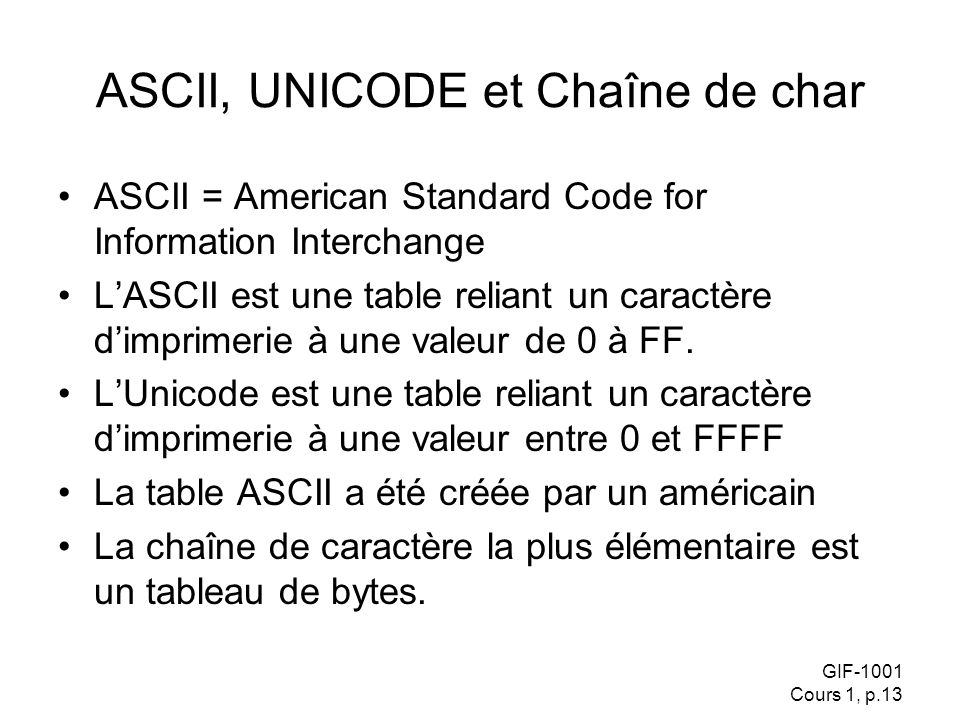 ASCII, UNICODE et Chaîne de char