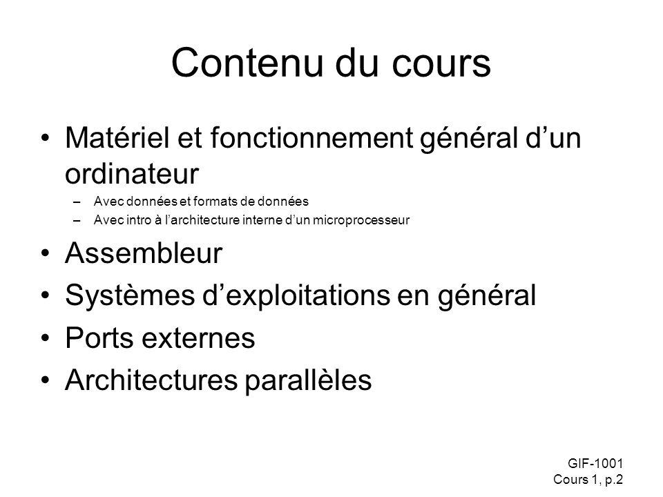 Contenu du cours Matériel et fonctionnement général d'un ordinateur