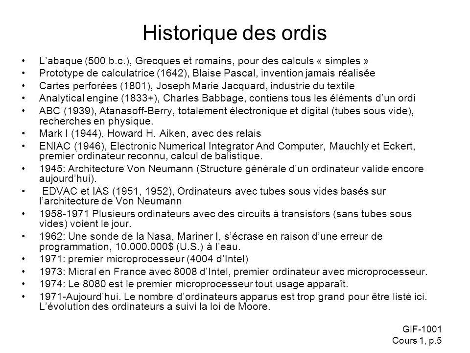 Historique des ordis L'abaque (500 b.c.), Grecques et romains, pour des calculs « simples »