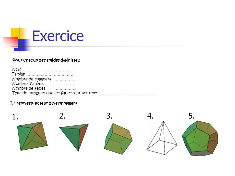 Exercice 1. 2. 3. 4. 5. Pour chacun des solides définissez :