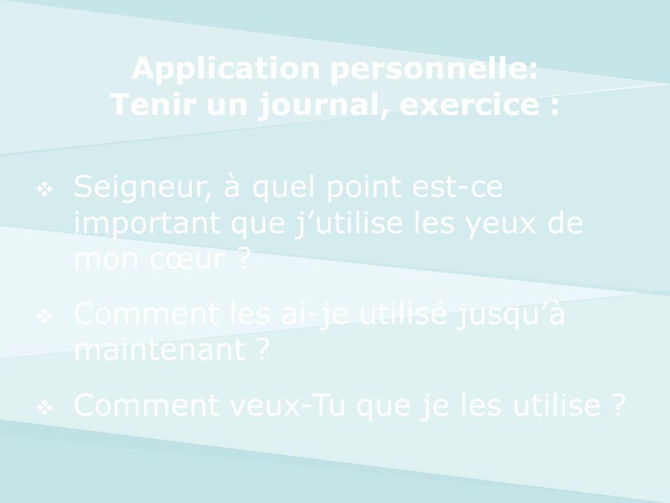Application personnelle: Tenir un journal, exercice :