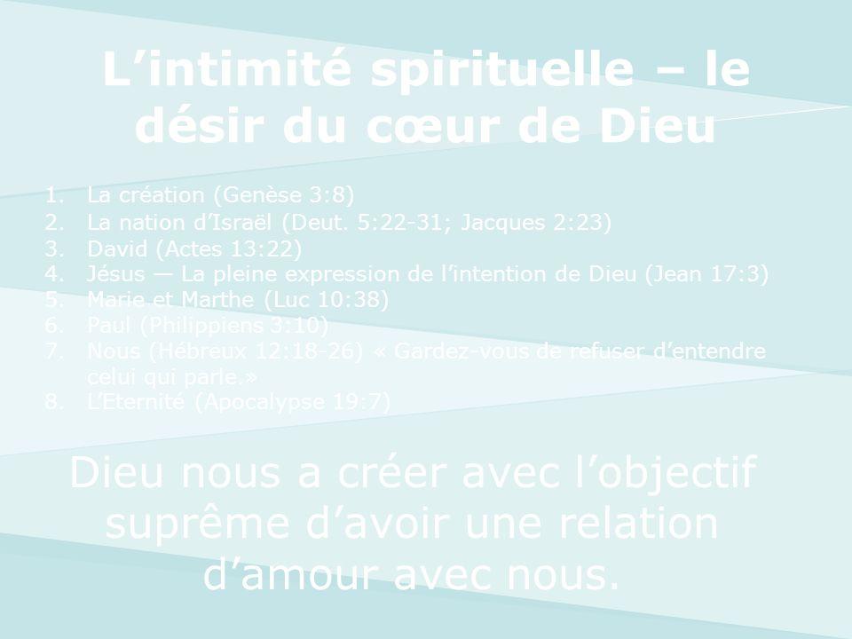 L'intimité spirituelle – le désir du cœur de Dieu