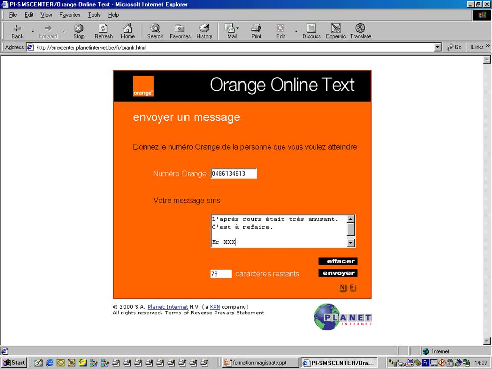 Ecran à remplir le message Orange