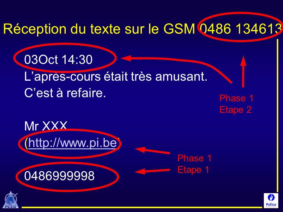Réception du texte sur le GSM 0486 134613