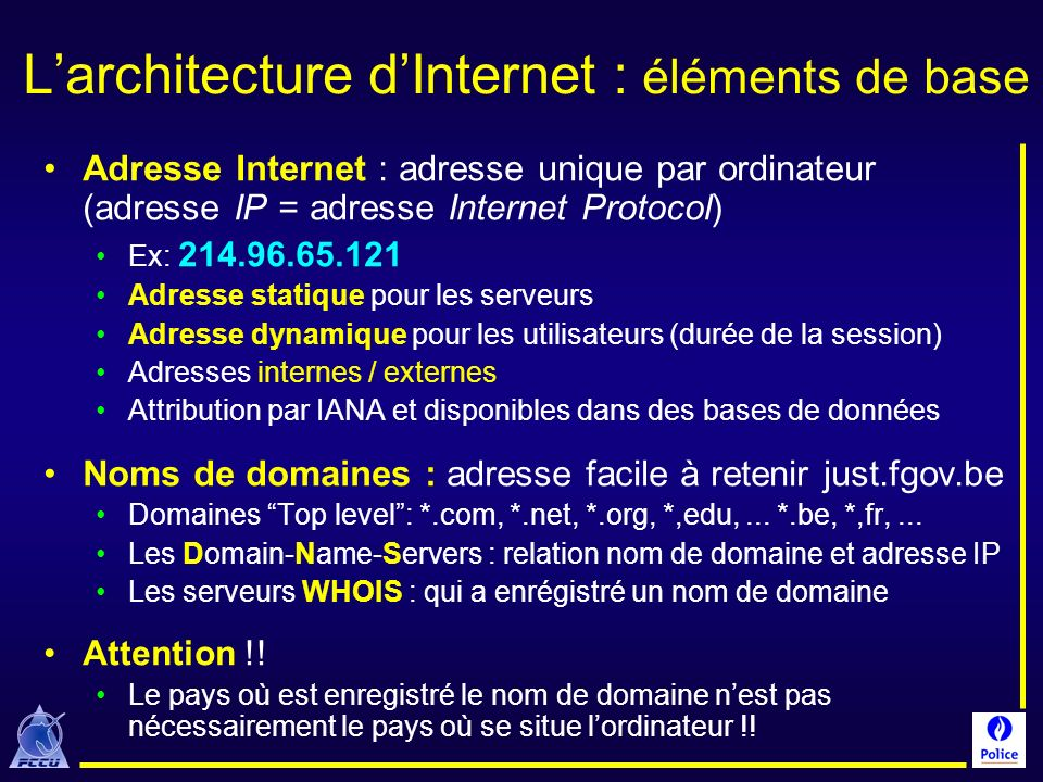 L'architecture d'Internet : éléments de base
