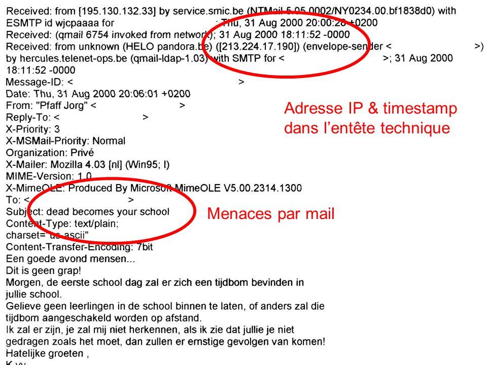 Adresse IP & timestamp dans l'entête technique