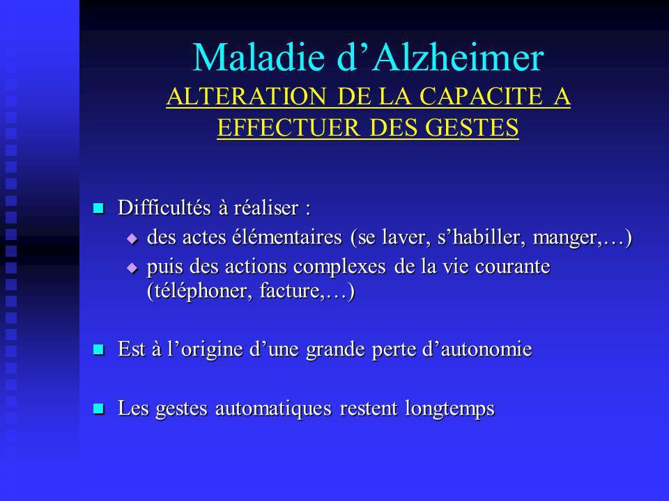Maladie d'Alzheimer ALTERATION DE LA CAPACITE A EFFECTUER DES GESTES