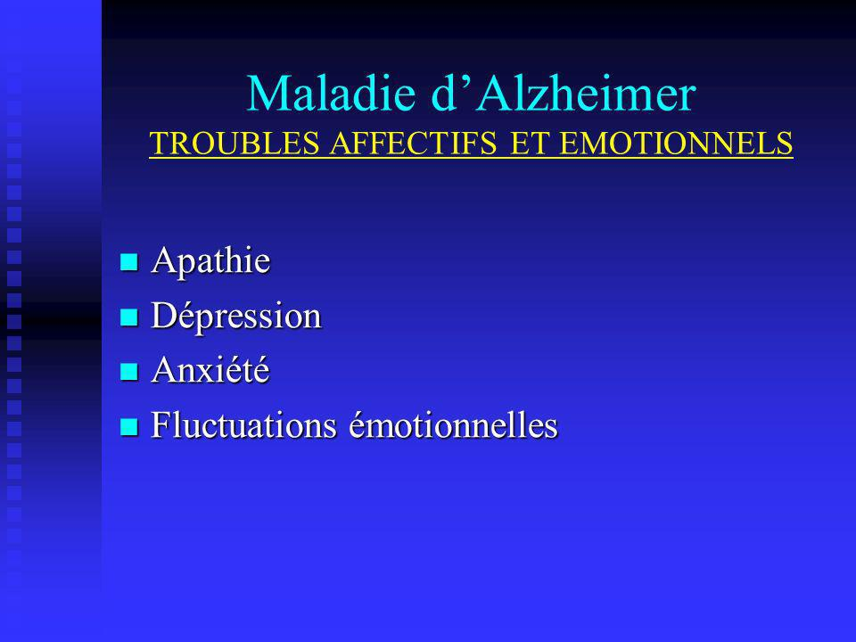 Maladie d'Alzheimer TROUBLES AFFECTIFS ET EMOTIONNELS