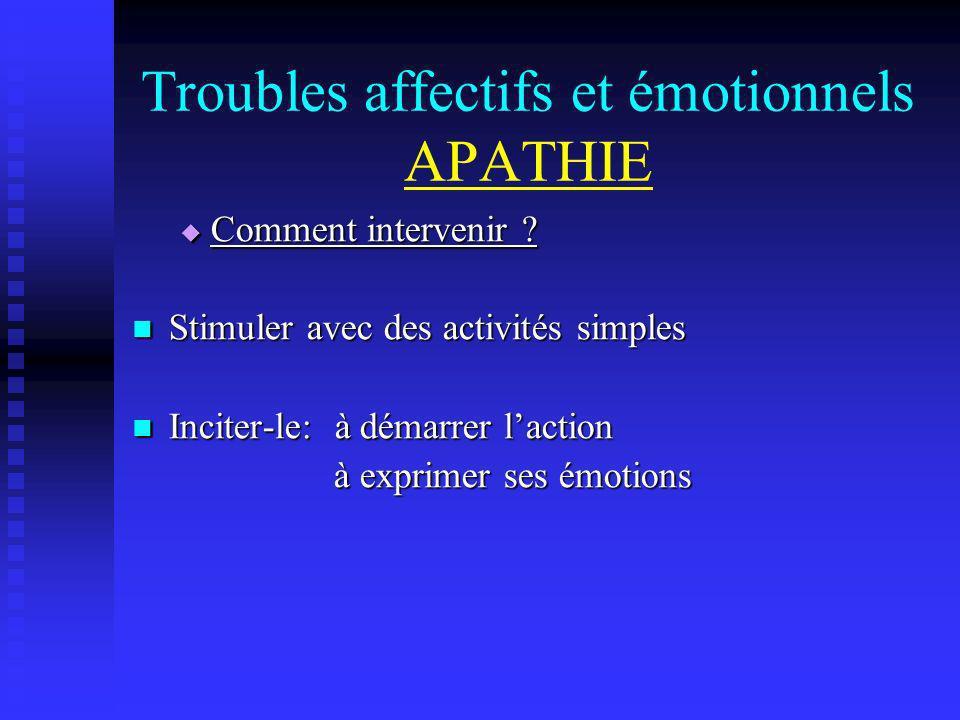 Troubles affectifs et émotionnels APATHIE