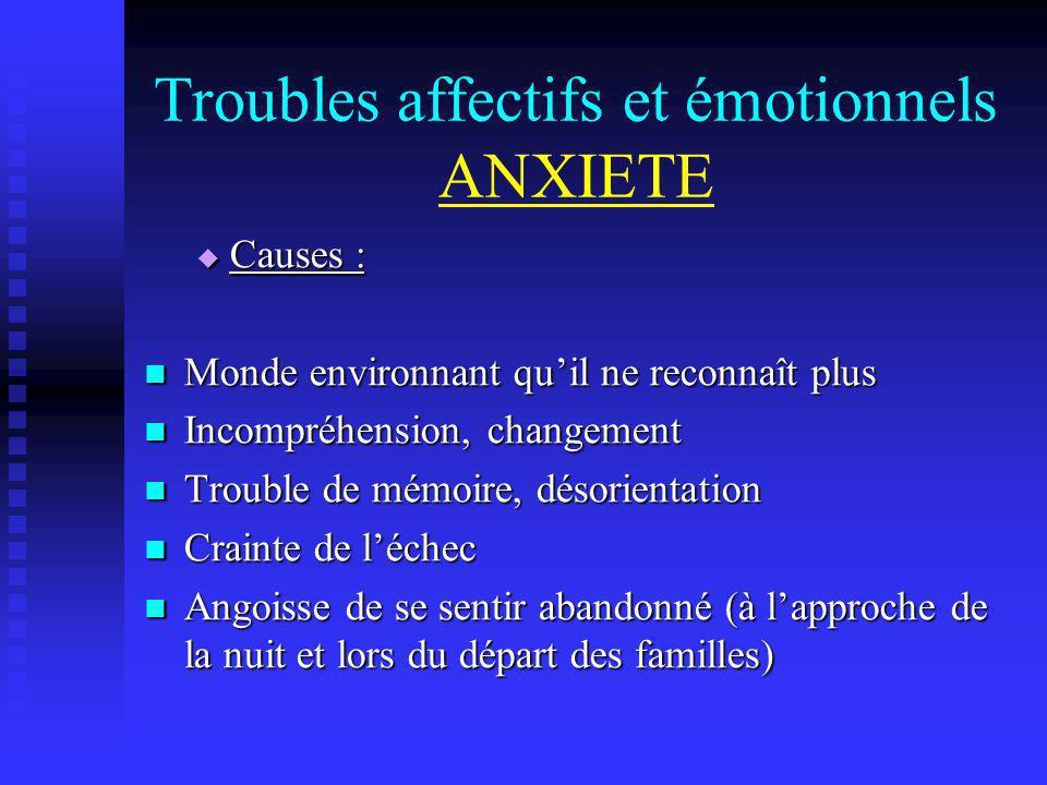Troubles affectifs et émotionnels ANXIETE