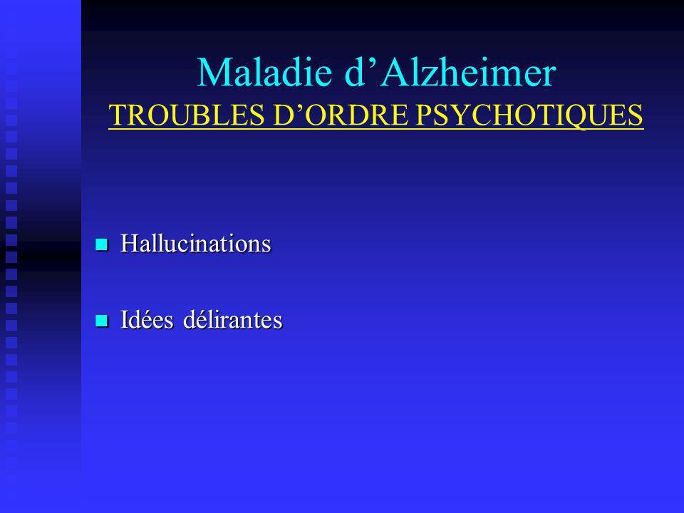 Maladie d'Alzheimer TROUBLES D'ORDRE PSYCHOTIQUES