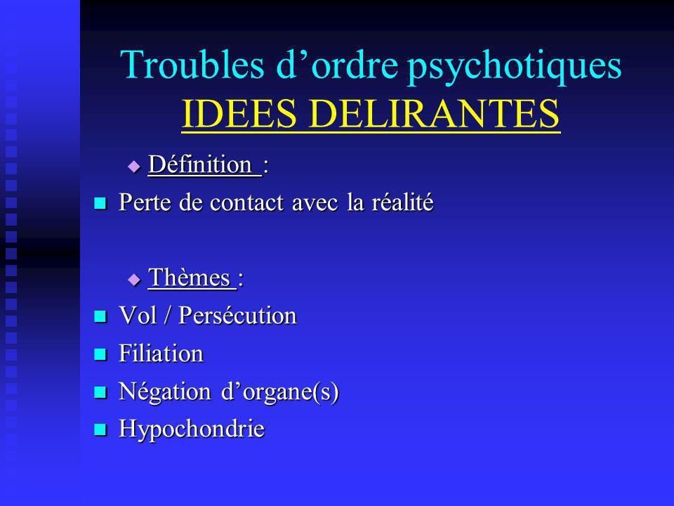 Troubles d'ordre psychotiques IDEES DELIRANTES