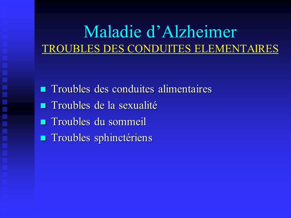 Maladie d'Alzheimer TROUBLES DES CONDUITES ELEMENTAIRES
