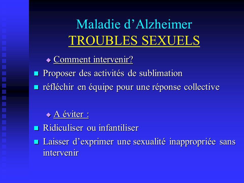 Maladie d'Alzheimer TROUBLES SEXUELS