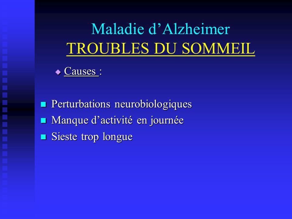 Maladie d'Alzheimer TROUBLES DU SOMMEIL