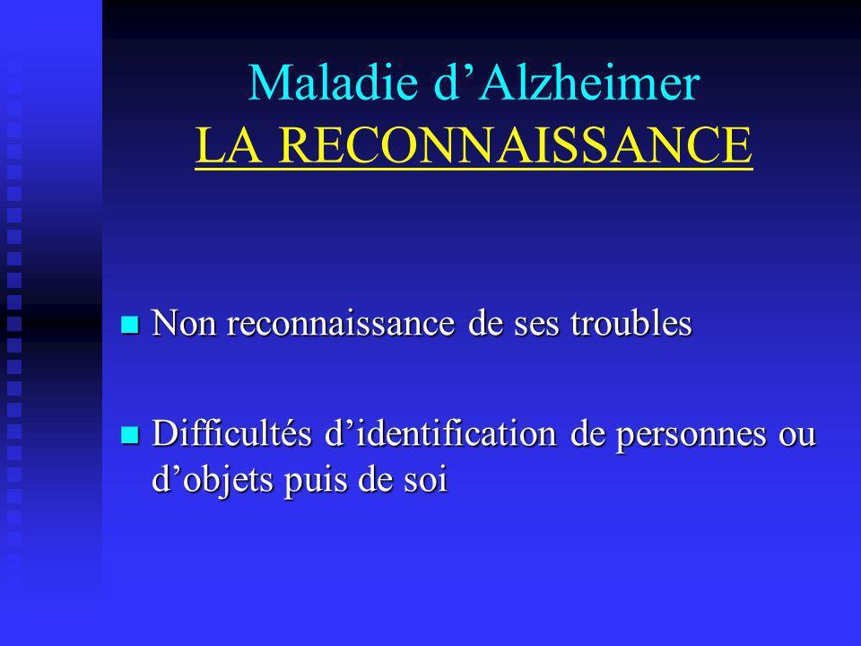 Maladie d'Alzheimer LA RECONNAISSANCE