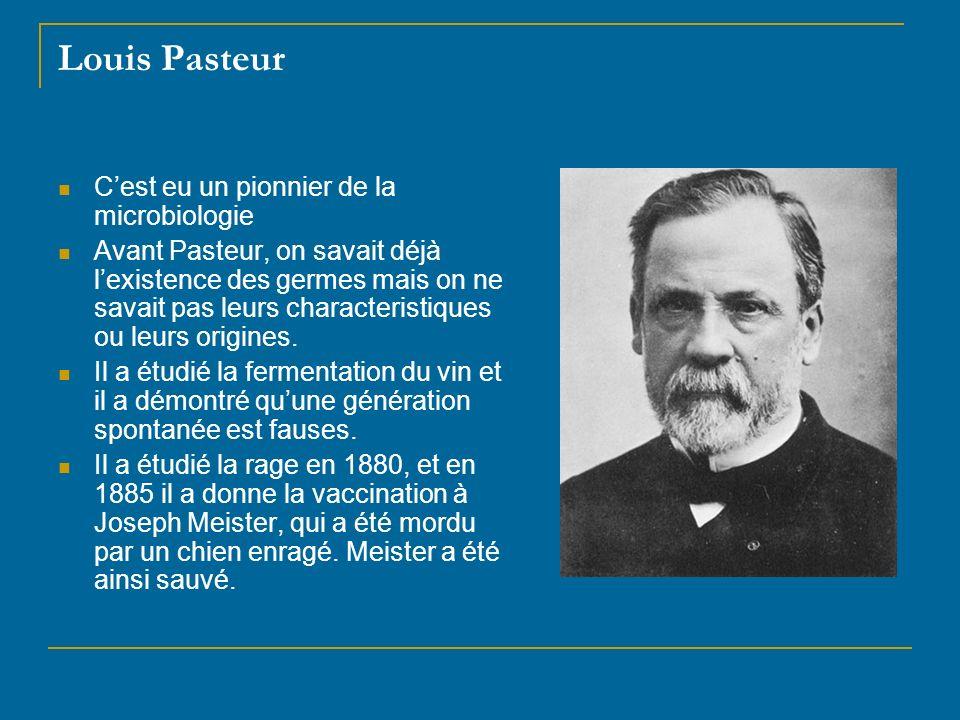 Louis Pasteur C'est eu un pionnier de la microbiologie