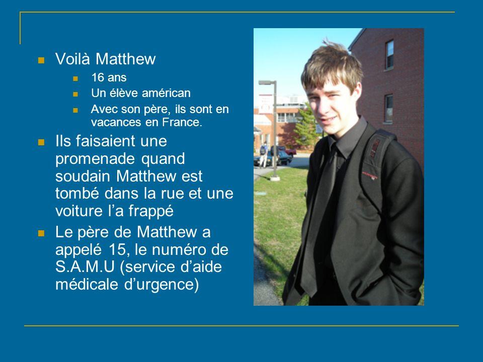 Voilà Matthew16 ans. Un élève américan. Avec son père, ils sont en vacances en France.