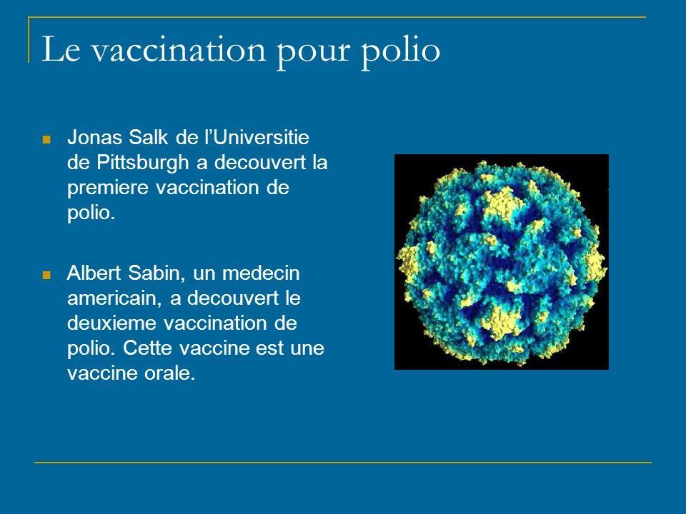 Le vaccination pour polio