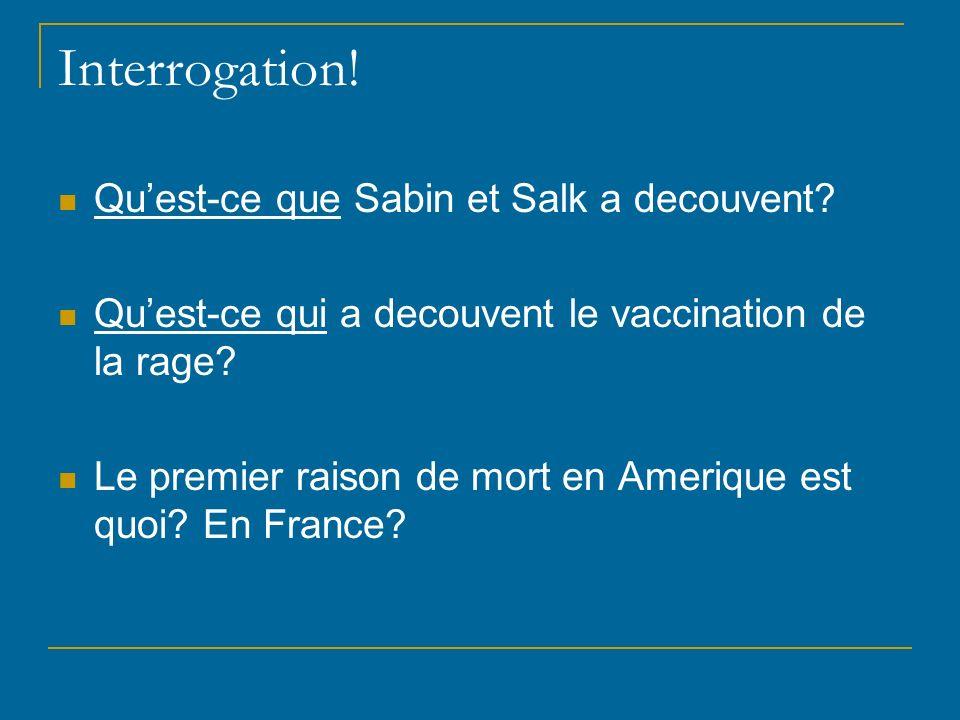 Interrogation! Qu'est-ce que Sabin et Salk a decouvent