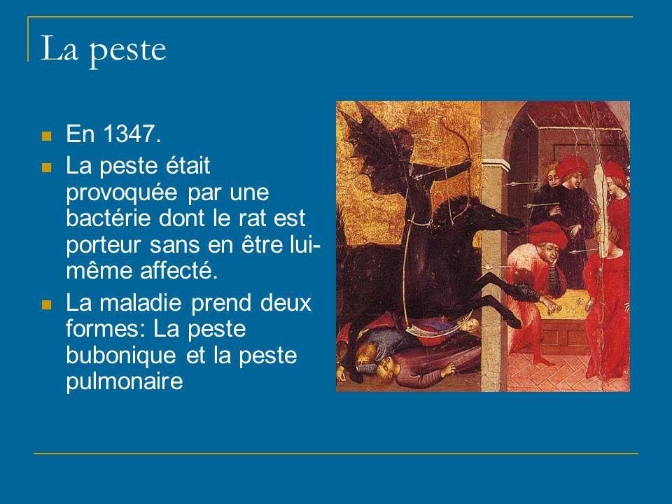 La peste En 1347. La peste était provoquée par une bactérie dont le rat est porteur sans en être lui-même affecté.