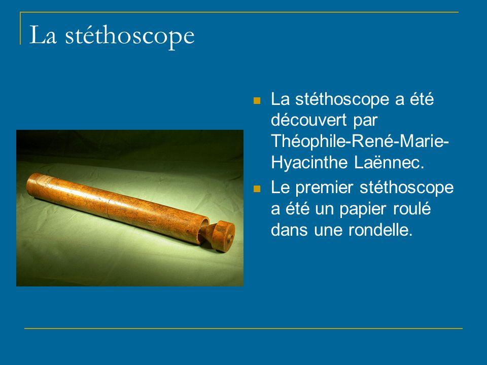 La stéthoscope La stéthoscope a été découvert par Théophile-René-Marie-Hyacinthe Laënnec.