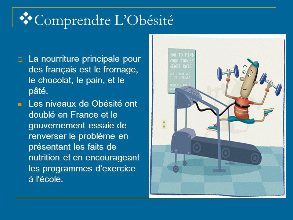 Comprendre L'Obésité La nourriture principale pour des français est le fromage, le chocolat, le pain, et le pâté.
