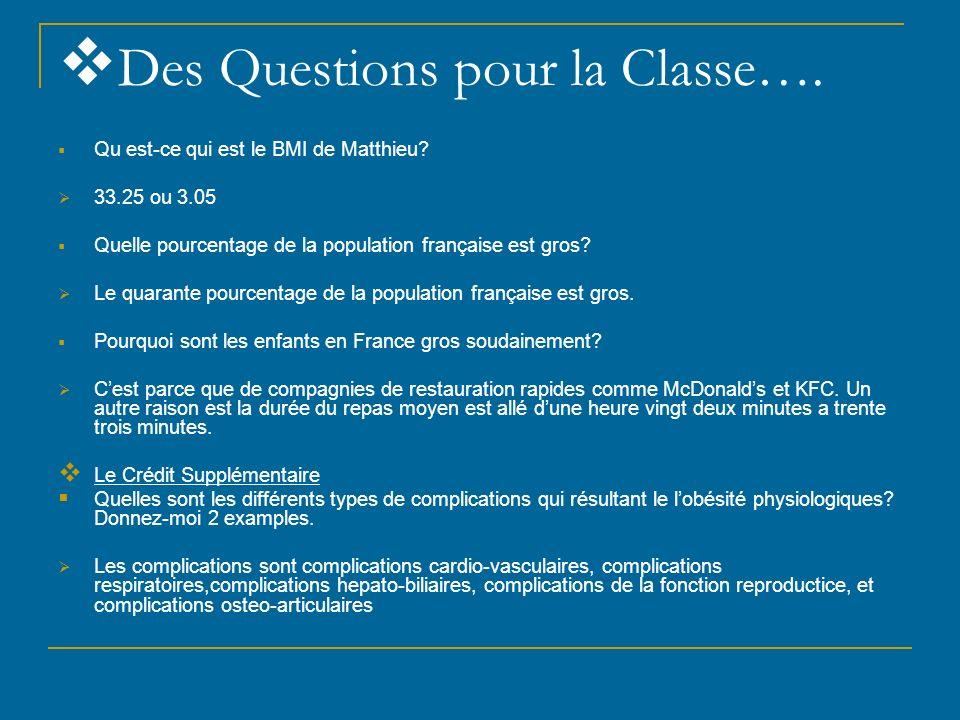 Des Questions pour la Classe….