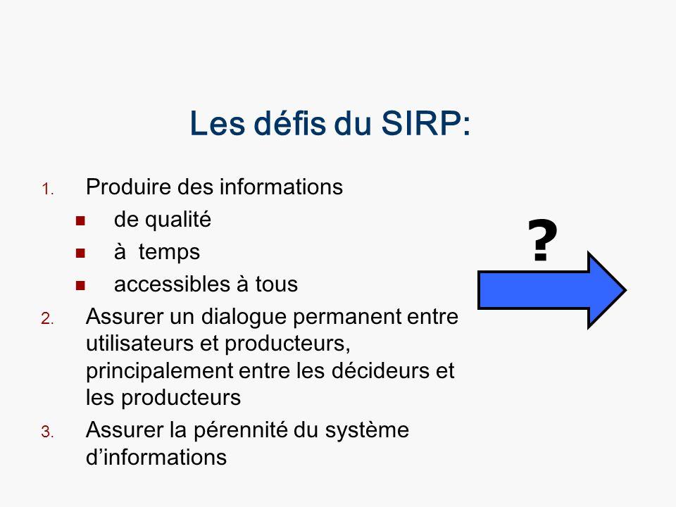Les défis du SIRP: Produire des informations de qualité à temps