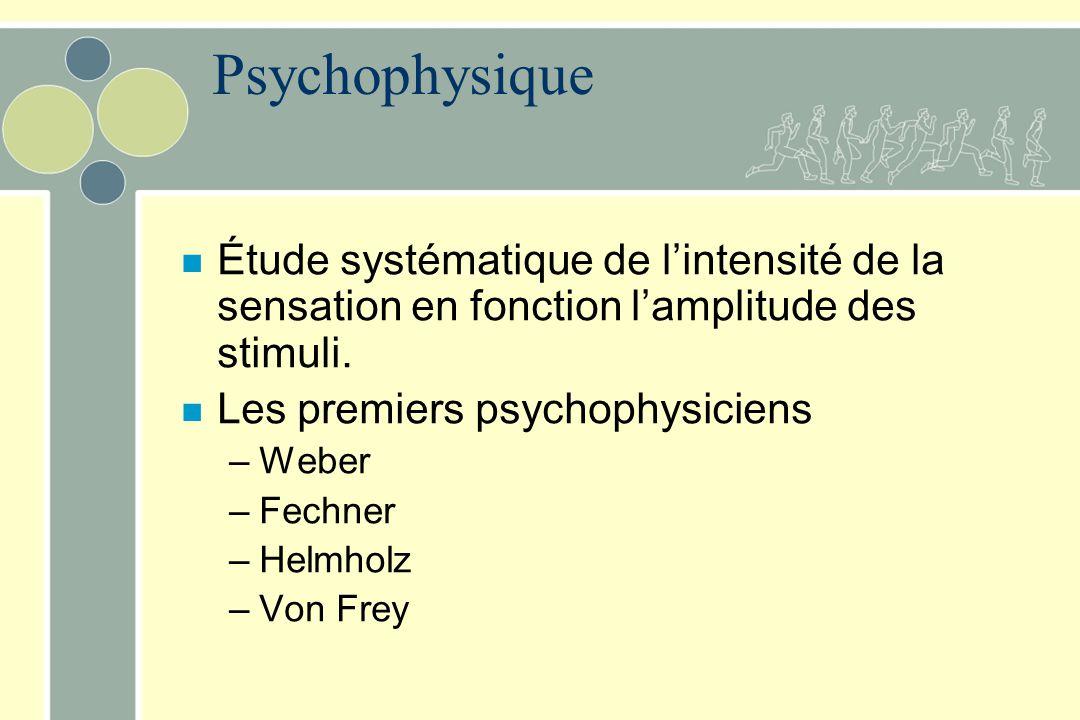 Psychophysique Étude systématique de l'intensité de la sensation en fonction l'amplitude des stimuli.