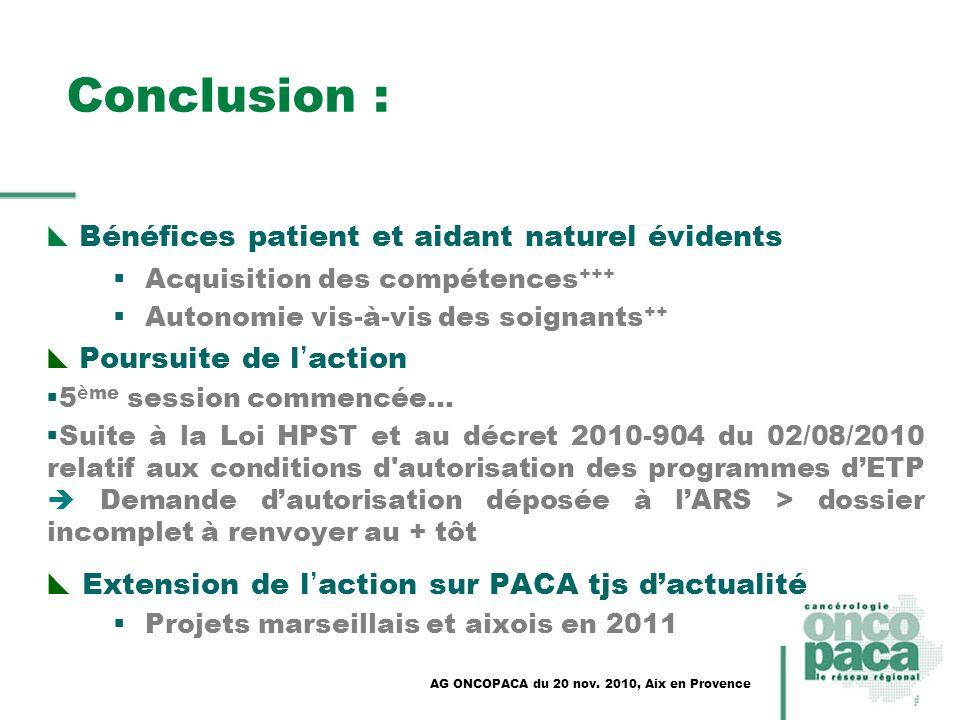 Conclusion : Extension de l'action sur PACA tjs d'actualité