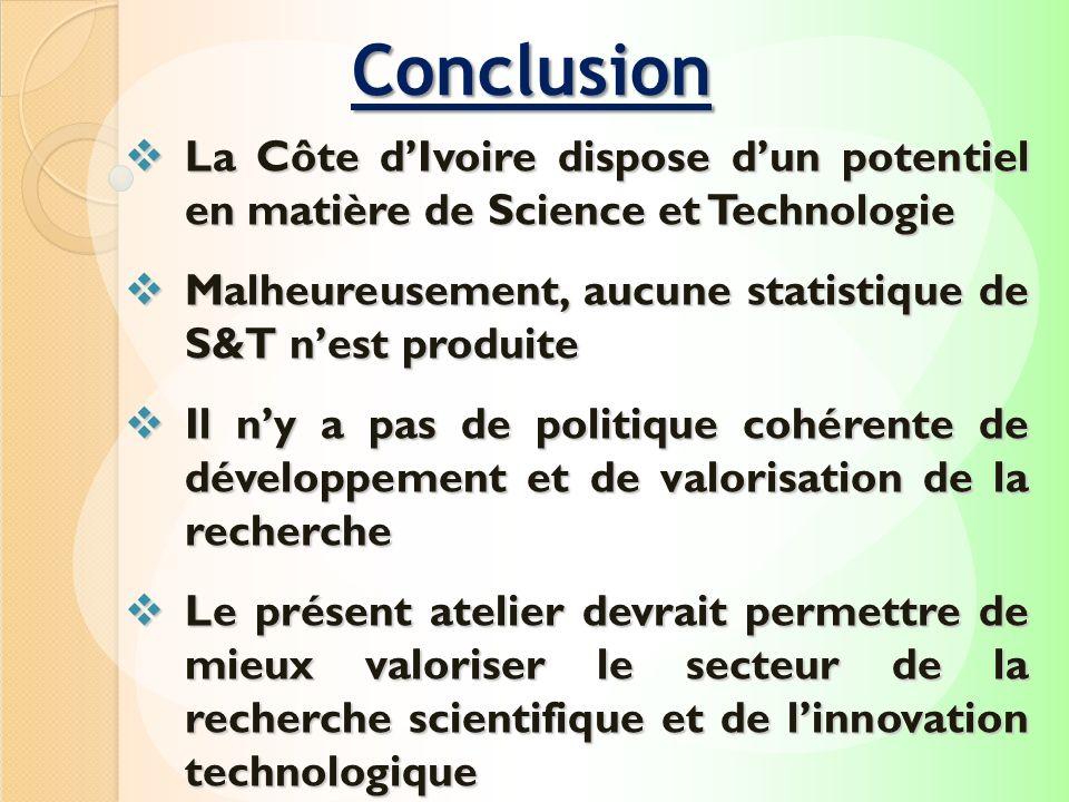 ConclusionLa Côte d'Ivoire dispose d'un potentiel en matière de Science et Technologie. Malheureusement, aucune statistique de S&T n'est produite.