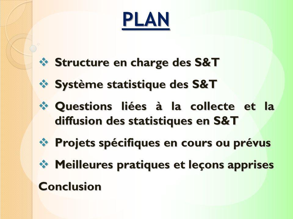 PLAN Structure en charge des S&T Système statistique des S&T