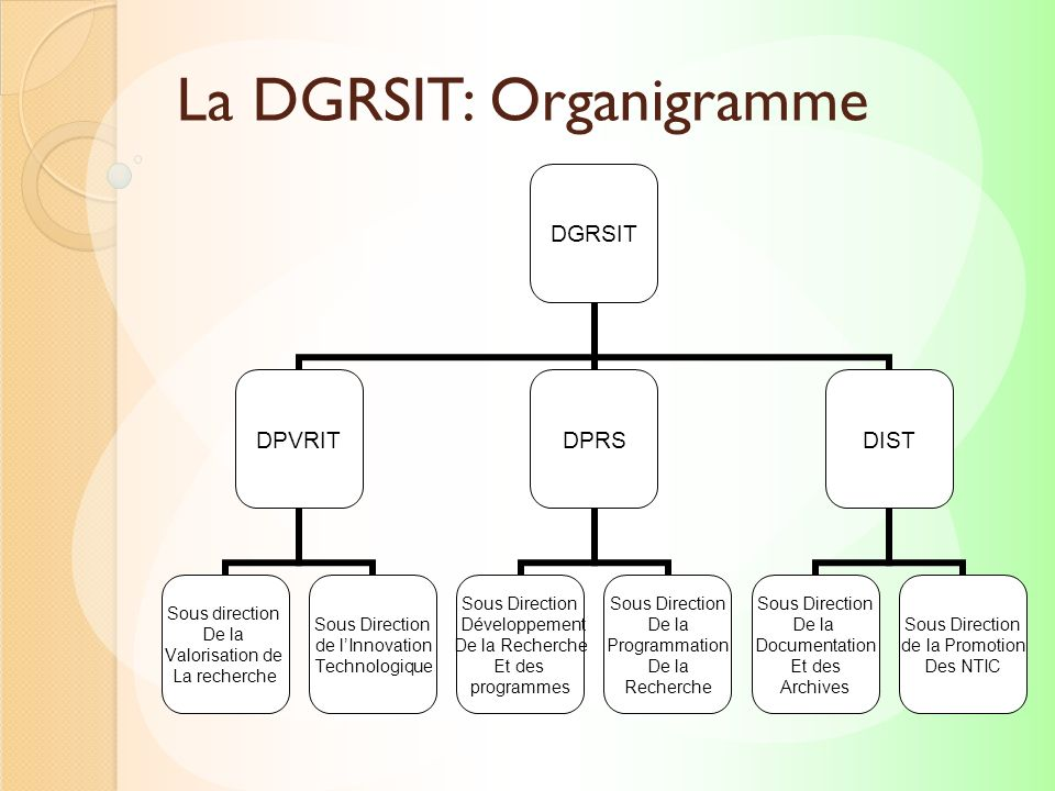 La DGRSIT: Organigramme