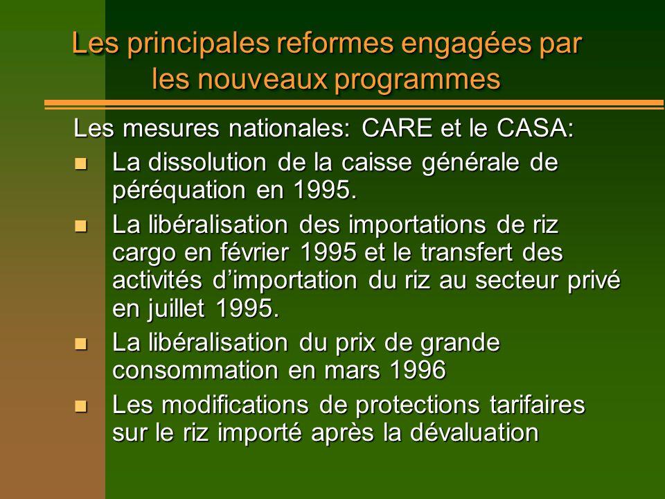 Les principales reformes engagées par les nouveaux programmes