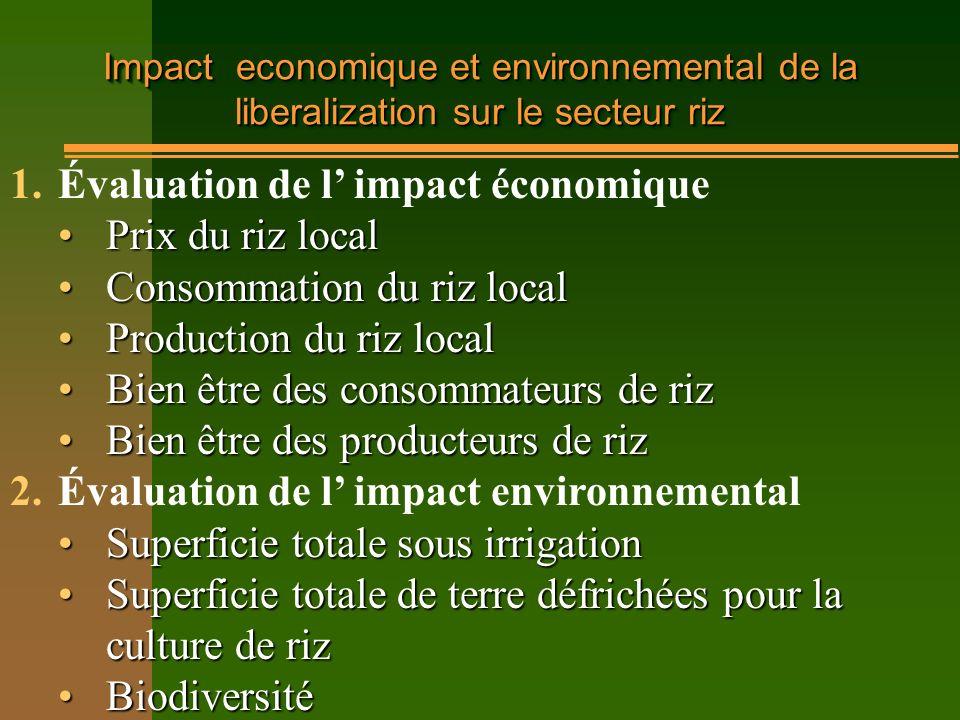 Évaluation de l' impact économique Prix du riz local