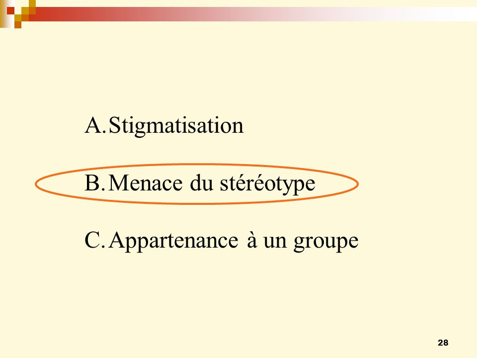 Stigmatisation Menace du stéréotype Appartenance à un groupe