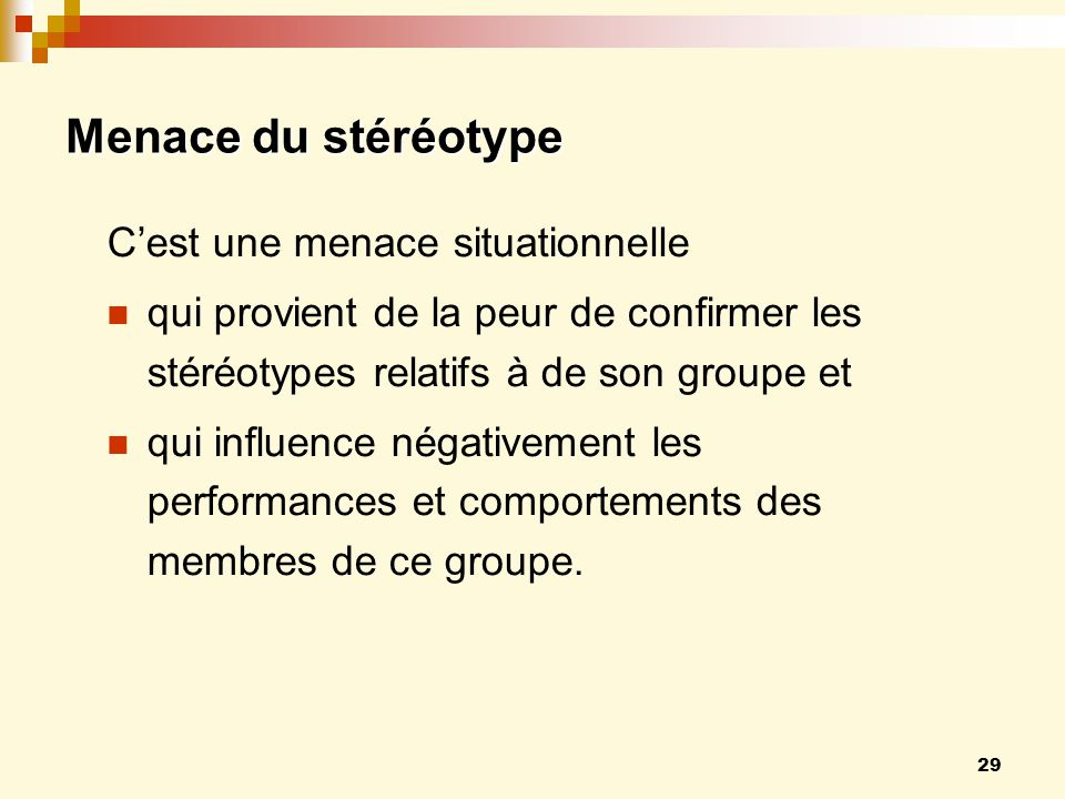 Menace du stéréotype C'est une menace situationnelle