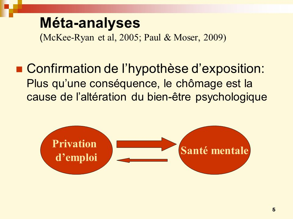 Méta-analyses (McKee-Ryan et al, 2005; Paul & Moser, 2009)