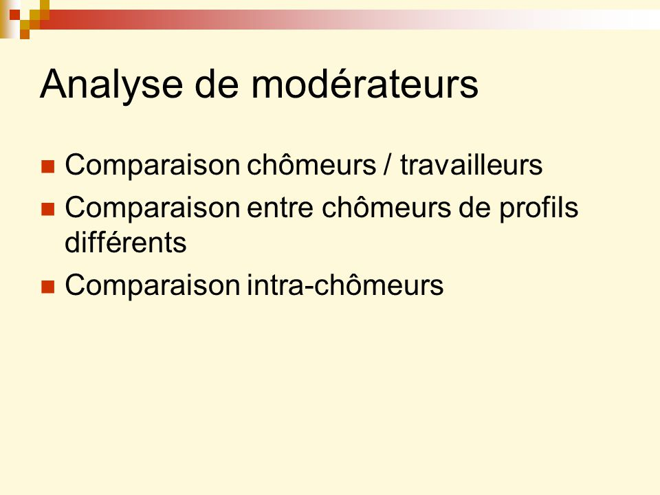 Analyse de modérateurs