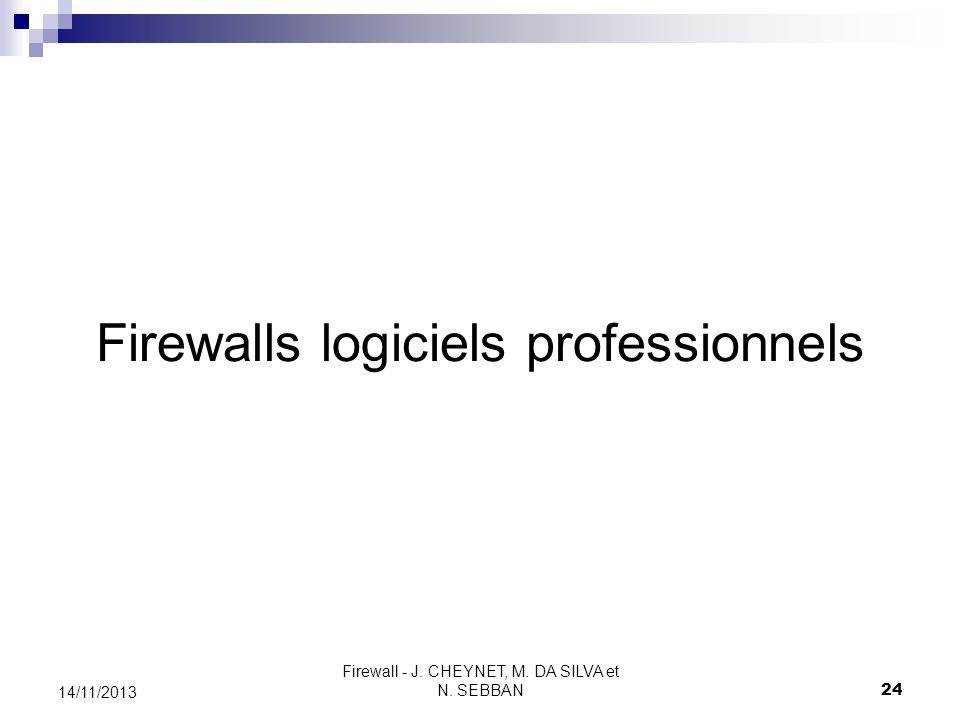 Firewalls logiciels professionnels