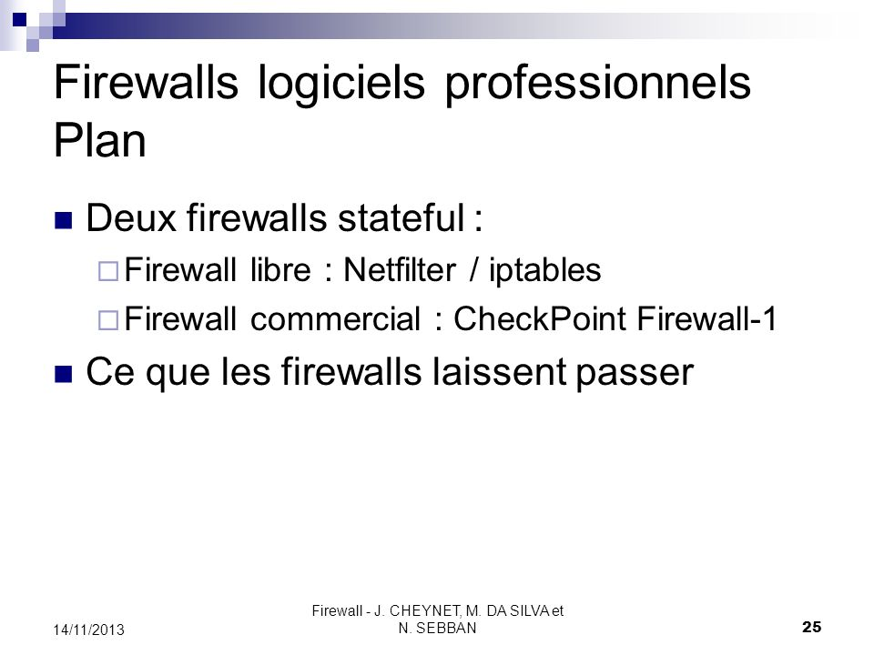 Firewalls logiciels professionnels Plan