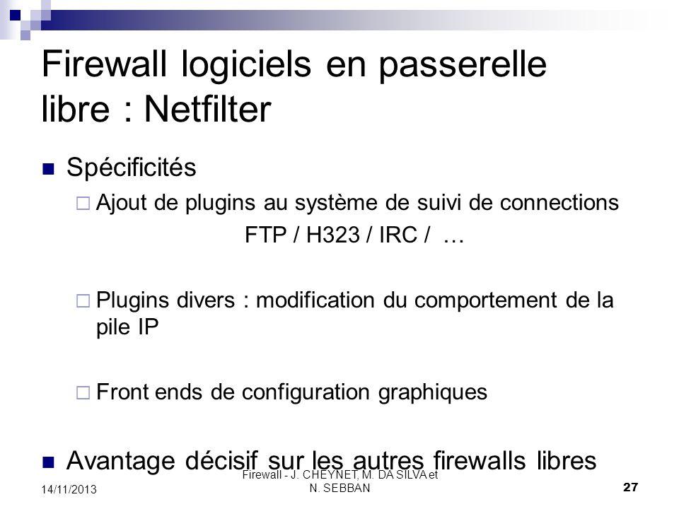 Firewall logiciels en passerelle libre : Netfilter