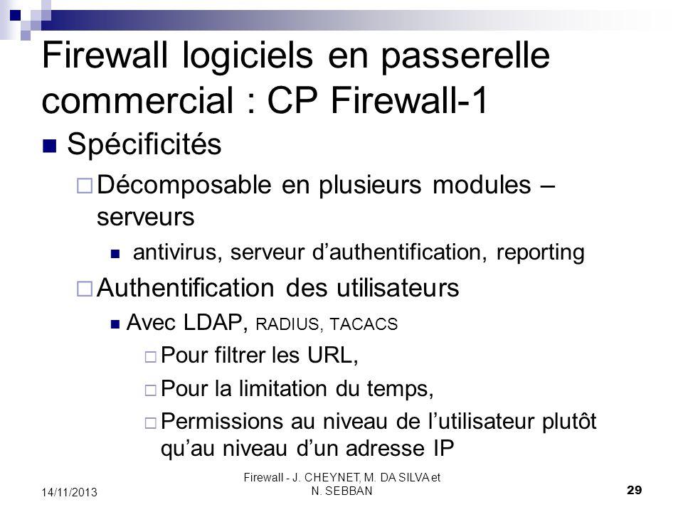 Firewall logiciels en passerelle commercial : CP Firewall-1