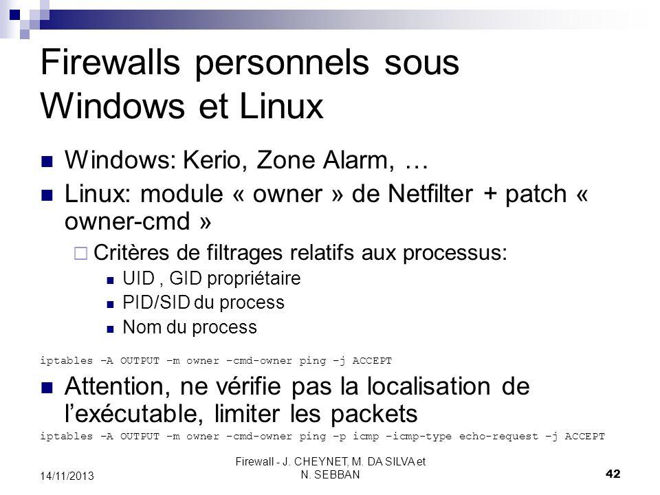 Firewalls personnels sous Windows et Linux