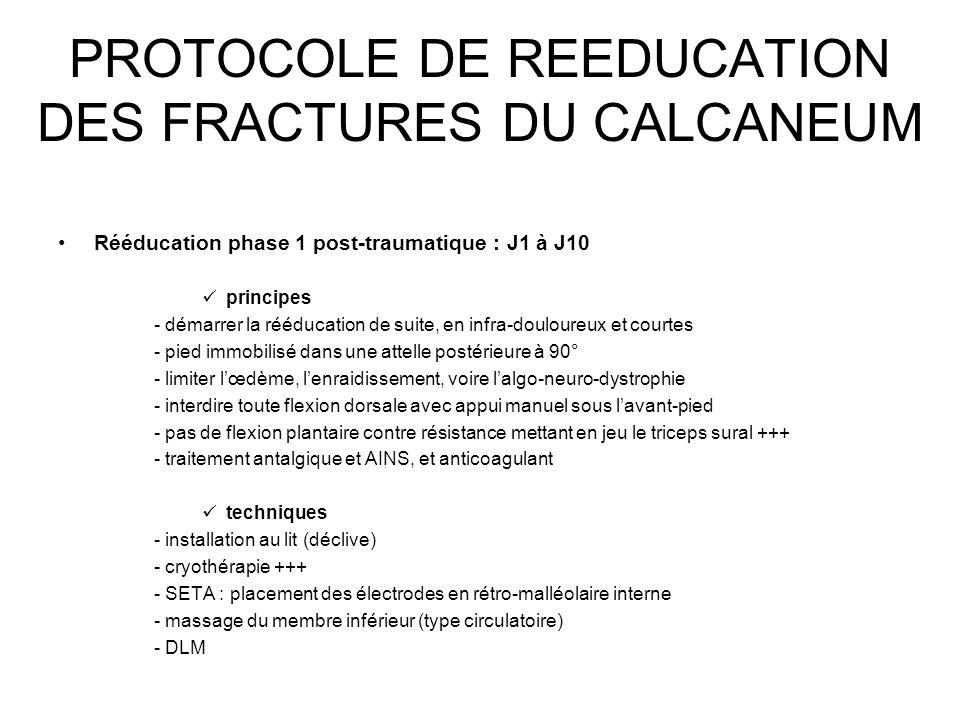 PROTOCOLE DE REEDUCATION DES FRACTURES DU CALCANEUM