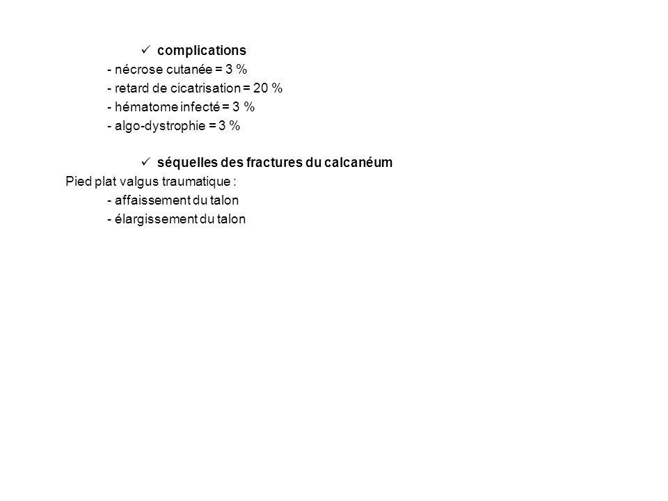 complications - nécrose cutanée = 3 % - retard de cicatrisation = 20 % - hématome infecté = 3 % - algo-dystrophie = 3 %