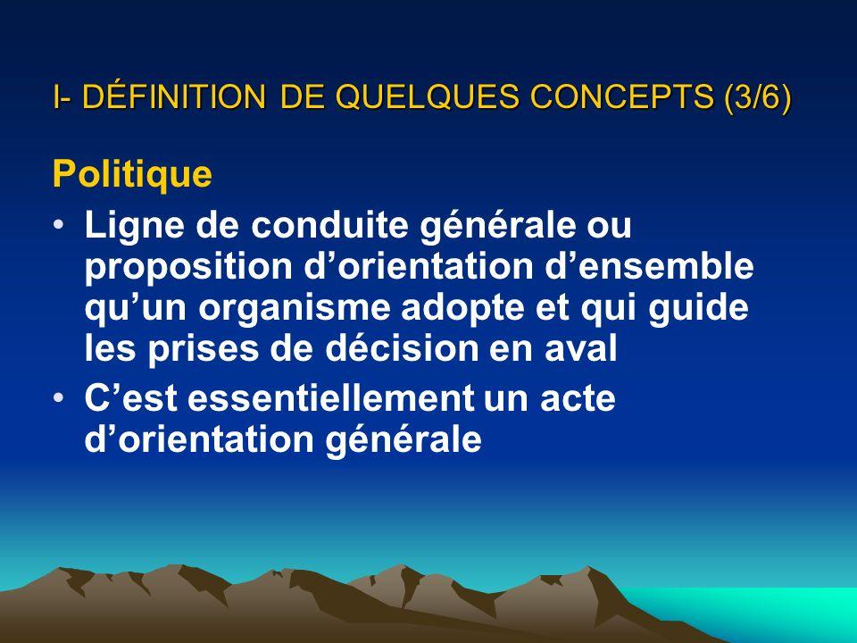 I- DÉFINITION DE QUELQUES CONCEPTS (3/6)